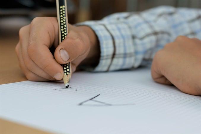 Student practising handwriting